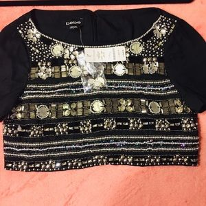 NEW Gorgeous Bebe cropped jeweled blouse